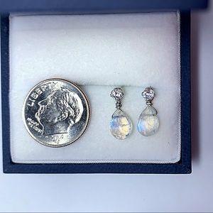 Genuine Teardrop Moonstone Earrings!